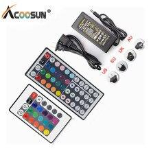 Rgb ir controlador remoto 12v dc 10 chave 24 chave 44 fonte de alimentação adaptador 2a 3a 5a para led strip luz acessórios smd 5050 3528