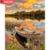 HUACAN DIY Paint By Number Boat Scenery Drawing On Canvas HandPainted Art Gift Pictures By Number Lake Kits Home Decoration