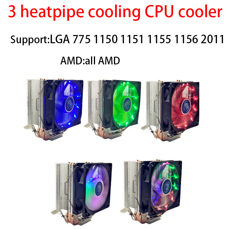 3 heatpipe cooling <font><b>CPU</b></font> <font><b>cooler</b></font> for LGA 775 1150 1151 1155 <font><b>1156</b></font> 2011 <font><b>CPU</b></font> 9 cm fan Support Intel AMD image