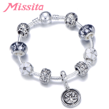 MISSITA Natural & Life Series Charm Bracelet with Flower Murano Beads Clover Brand Bracelet for Women Anniversary Gift iphone style handheld 10 digit calculator