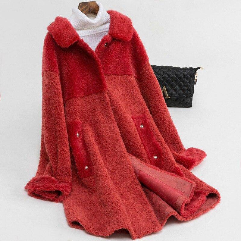 Real Fur Coat Mink Fur Collar 100% Wool Jacket Autumn Winter Coat Women Clothes 2020 Korean Sheep Shearling Women Tops ZT3904