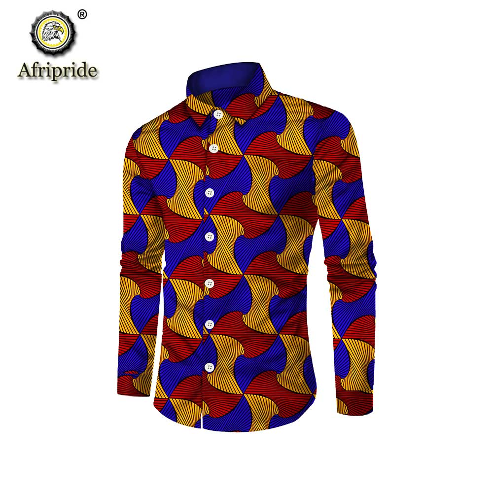 African Suit Shirts For Man Print Clothing Dashiki Tops Ankara Formal Men Shirt Stand Neck Long Sleeve AFRIPRIDE S1912002
