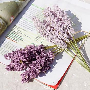 6 Pieces /Bundle PE Lavender Cheap Artificial Flower Wholesale Plant Wall Decoration Bouquet Material Manual Diy Vases for Home - discount item  50% OFF Festive & Party Supplies