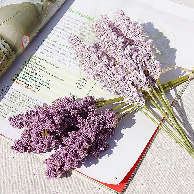 6 pieces /bundle PE lavender cheap Artificial flower wholesale plant wall decoration bouquet material manual diy vases for home(China)