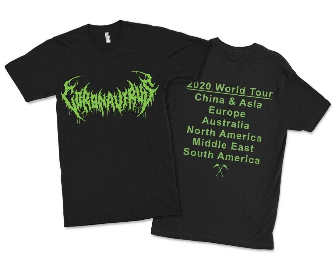 Coronovirus World Tour Black Metal T-Shirt, Corona Funny Virus Tee, All Sizes
