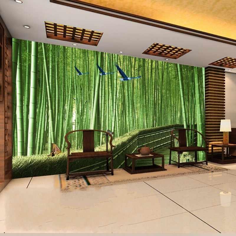 Livraison directe Photo papier peint 3D stéréo personnalisé grande murale TV toile de fond salon chambre frais bambou forêt papier peint Mural