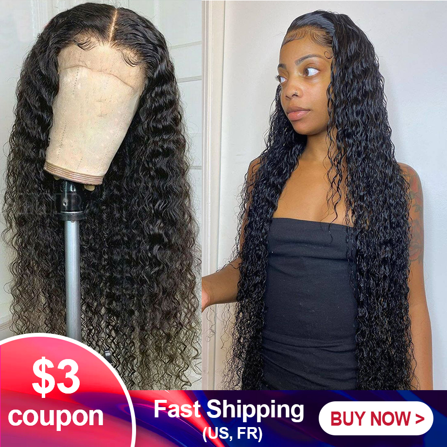 Encaracolado peruca de cabelo humano 28 30 polegada brasileiro remy hd frontal onda de água profunda curto bob frente do laço perucas de cabelo humano para preto