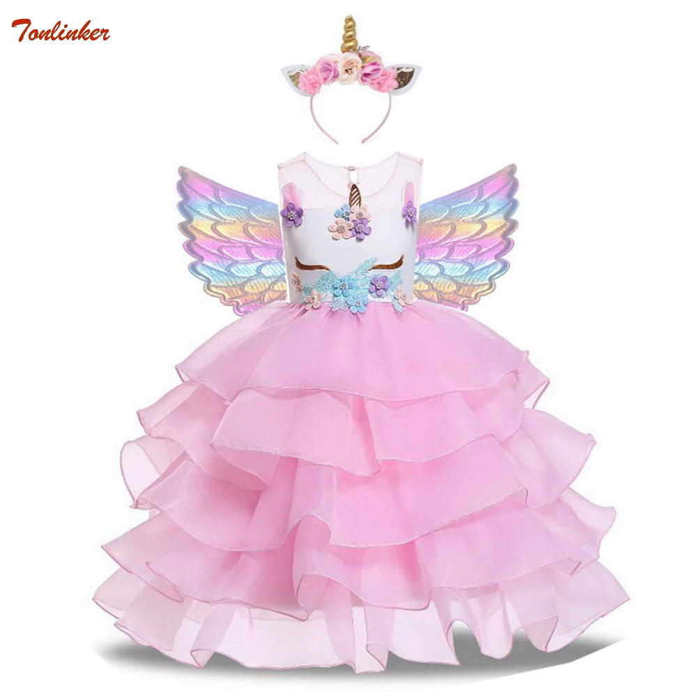 Girls Unicorn Flowers Cake Tutu Dresses With Beadbad for Kids Princess Fancy Birthday Theme Party Costumes 1 10 Years Pink BlueGirls Costumes   -
