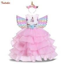 Meisjes Eenhoorn Bloemen Taart Tutu Jurken Met Beadbad Voor Kids Prinses Fancy Verjaardag Thema Party Kostuums 1 10 Jaar roze Blauw