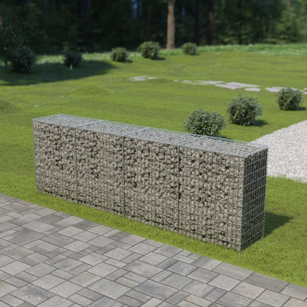 VidaXL Gabion Wall With Covers Galvanised Steel 300x50x100 Cm Galvanized Wire Gabion Stone Cage Net Wholesale River Stone Cage