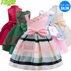 Baby Girl Princess Stripe Dress Girl Party Princess Dress Child Christmas Dress Abito da sposa Child Girl Dress Costume