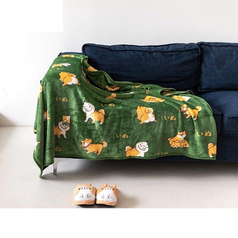 160x120cm Cute Shiba Inu Green Flannel Nap Corgi Dog Warm Cartoon Style Air-conditioning Throw Blanket Sofa Bedding Decor Gifts