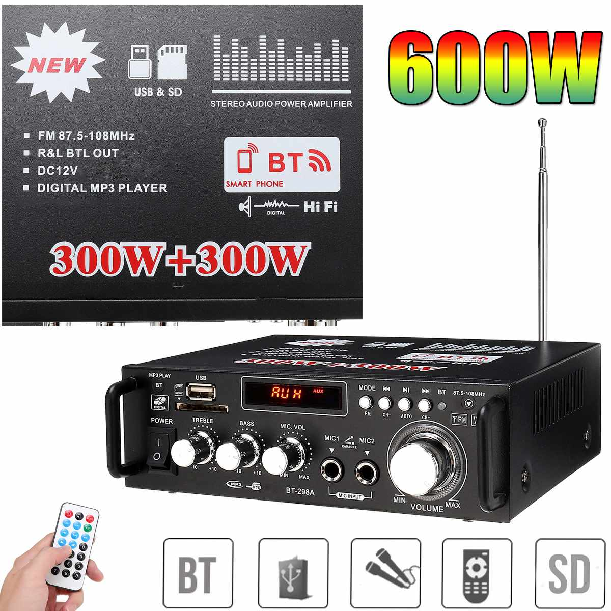 600w Home Car Amplifier 110V HIFI USB FM Radio Audio bluetooth Amplifiers Player Subwoofer Stereo Speaker With Remote Control