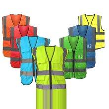 цена Multi-pocket Reflective Vest Riding Traffic Vest Safety Railway Coal Miners Uniform Vest Breathable Reflective Vest онлайн в 2017 году