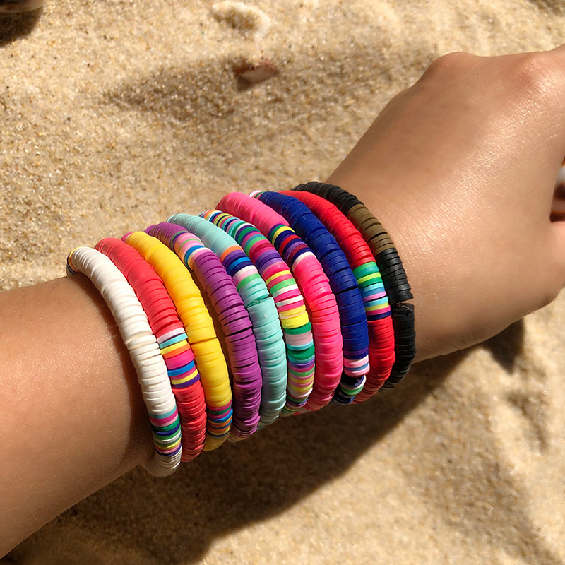 Recyclable Polymer Clay Disc Beads Waxed String Bracelets Women Femme Boho Mixed Color Popular Wristband Jewelry