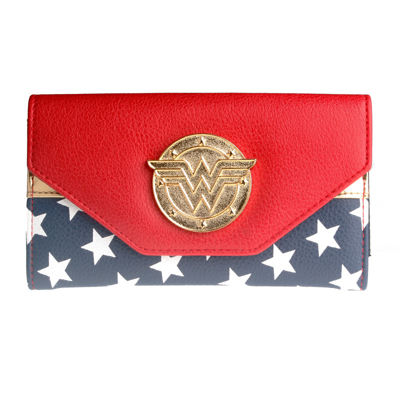 Wonder Woman Wallet Double Buckle Tri Fold Flap Purse
