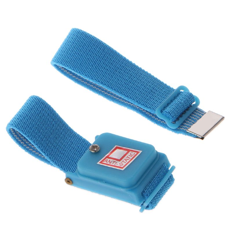 Blue Anti Static Wrist Strap Cordless Bracelet Wireless Adjustable Electrostatic ESD Discharge Cable Wristband 28TE