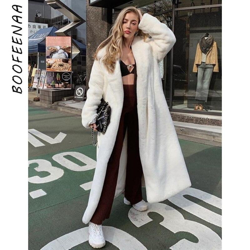 BOOFEENAA White Faux Fur Teddy Bear Coat Women Fluffy Winter Jacket Oversized Long Shaggy Cardigan Warm Trench Coats C94-CI74