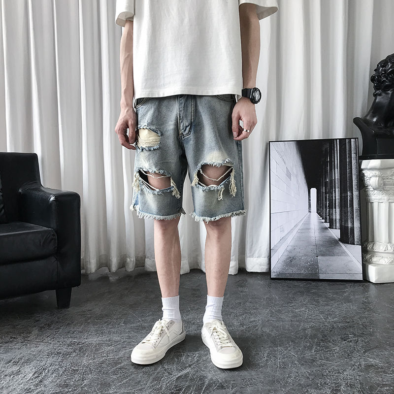 Men's shorts 2020 summer new slim-fit five-minute pants ripped straight leg cargo shorts loose casual youth men's wear