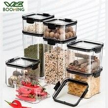 WBBOOMING 4 разных емкости пластиковые герметичные банки, кухонный ящик для хранения, прозрачная пищевая канистра, сохраняющая свежесть, новый п...