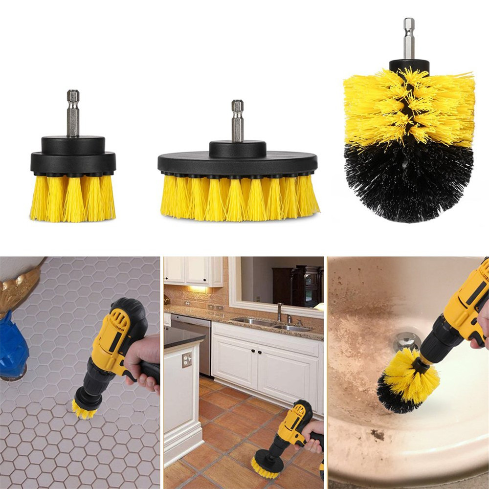 3Pcs Set Electric Drill Brush Kit Plastic Round Cleaning Brush For Carpet Glass Car Tires Nylon Brushes Power Scrubber Drill NEW in Cleaning Brushes from Home Garden