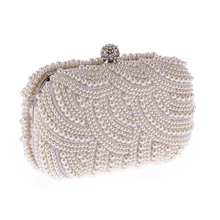 2020 New Vintage Women Clutch Bag Luxury Party Pruse White Pearl Evening Wedding Elegant Handbag Wallet Fashion