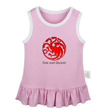 Dragons Gold Rose Game of Thrones House Tyrell Growing Strong Newborn Baby Girls Dresses Toddler Sleeveless Dress Infant Clothes(China)