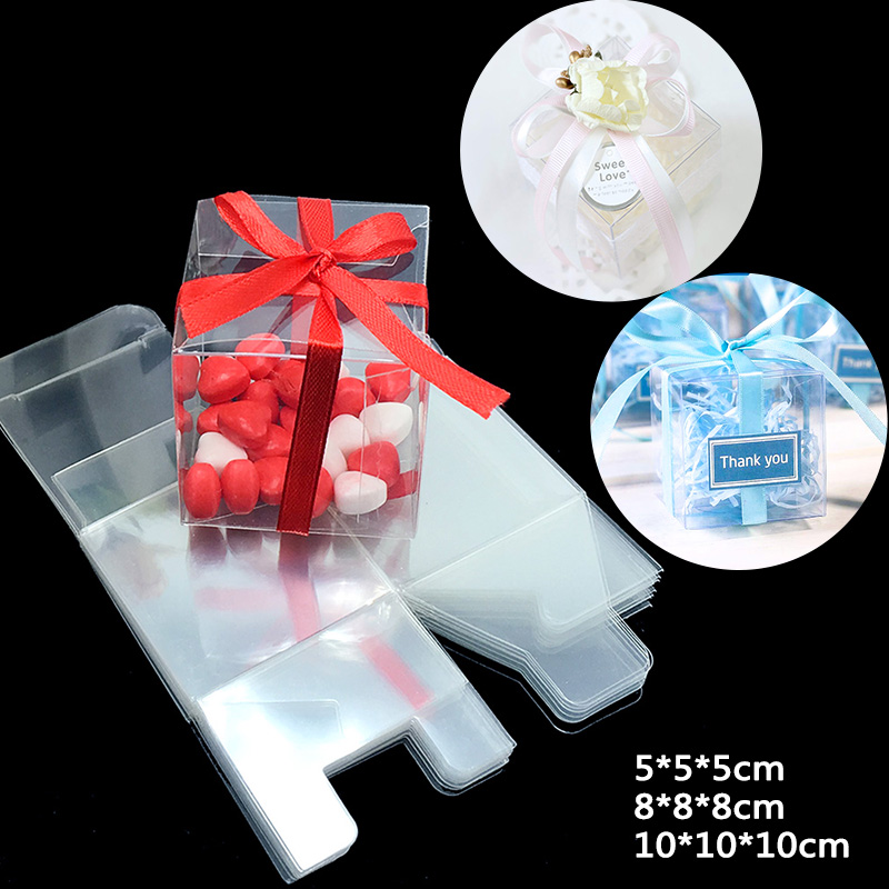 50Pieces/lot Clear Square Wedding Favor Gift Box PVC Transparent Party Candy Bags Chocolate Boxes Christmas Gift Box 5cm/8cm
