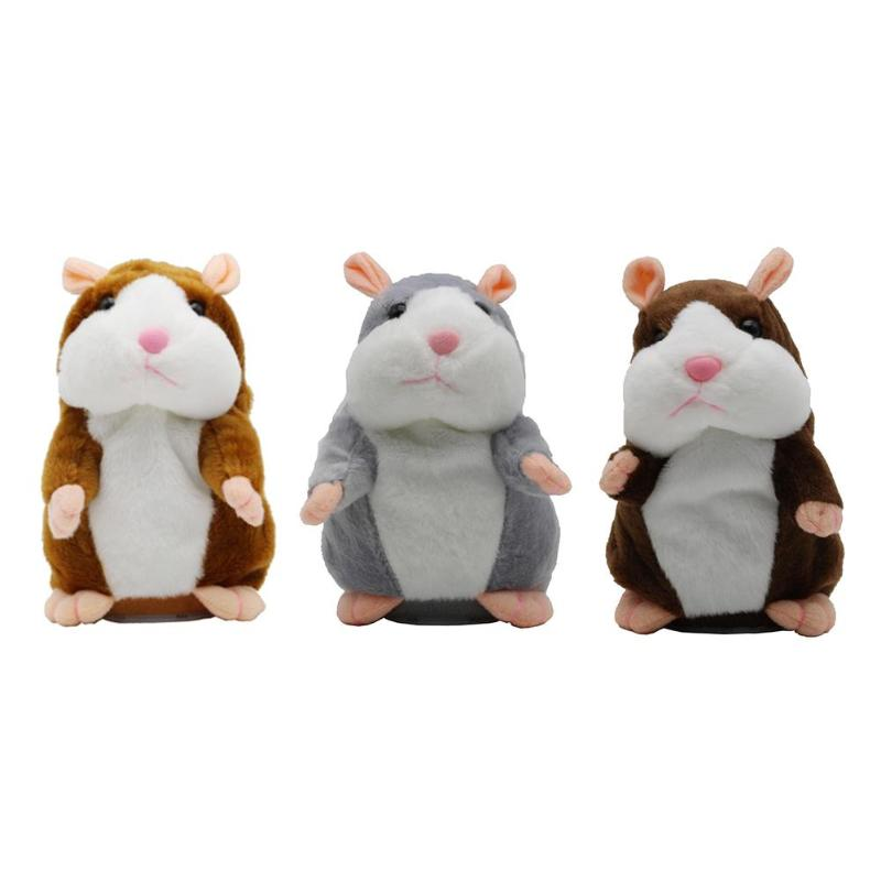 Dropshipping 15cm Lovely Talking Hamster Plush Toy Speak Talk Sound Record Repeat Stuffed Plush Animal Kawaii Hamster Toys