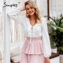 Simplee vintage sexy lanterna manga blusa feminina camisa branca bolinhas babados blusa camisas casuais rendas até femme mujer