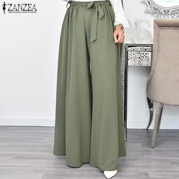 ZANZEA Women Autumn Wide Leg Pants Vintage High Waist Solid Long Trousers Casual Flare Pantalon Loose Streetwear Palazzo Robe 1