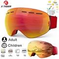 X-TIGER, лыжные очки, детские очки для сноуборда, для родителей и детей, зимние спортивные лыжные очки для мужчин, женщин, мужчин, анти-туман, сне...