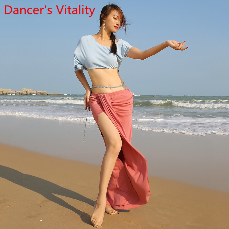 Belly Dance Racing Wear Practice Clothes Cotton Cropped Top Long Skirt Oriental Indian Dancing Matching Beginners Training Cloth