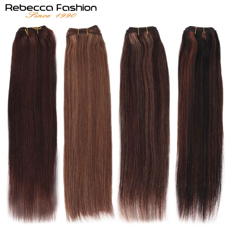 Rebecca Brazilian Natural Straight Hair 1 Bundle Colored #P1B/30 #P4/27 #P4/30 #P27/613 Remy Human Hair Extensions 10-26 Inch