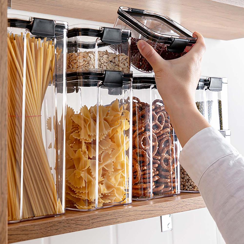 2/4PCS PET Plastic Food Containers Transparent  Stackable Dry Food Storage Box Kitchen Spaghetti Noodles Sealed Containers