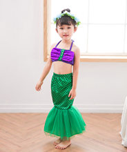 Halloween Outfits for 3-10y Cute Girl Swimsuit Toddler Children Lace Cartoon Beach Dress Little Kids Mermaid Costume(China)