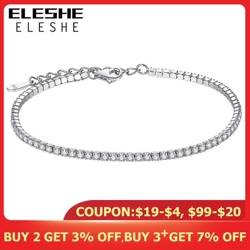 ELESHE 925 Sterling Silver Tennis Charm Bracelets For Women With Cubic Zirconia Link Chain Anti-allergy Sterling-silver-jewelry