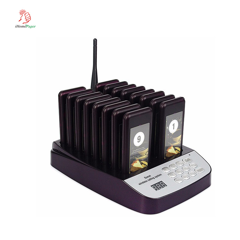Wireless Queue Restaurant Calling Ordering System For Fastfood Restaurants KFC Cafe Dessert Shop 1Keyboard 16 Pagers