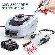 35000RPM Pro elektrikli tırnak matkap makinesi manikür aparatı pedikür kesici tırnak matkap sanat makinesi seti tırnak araçları