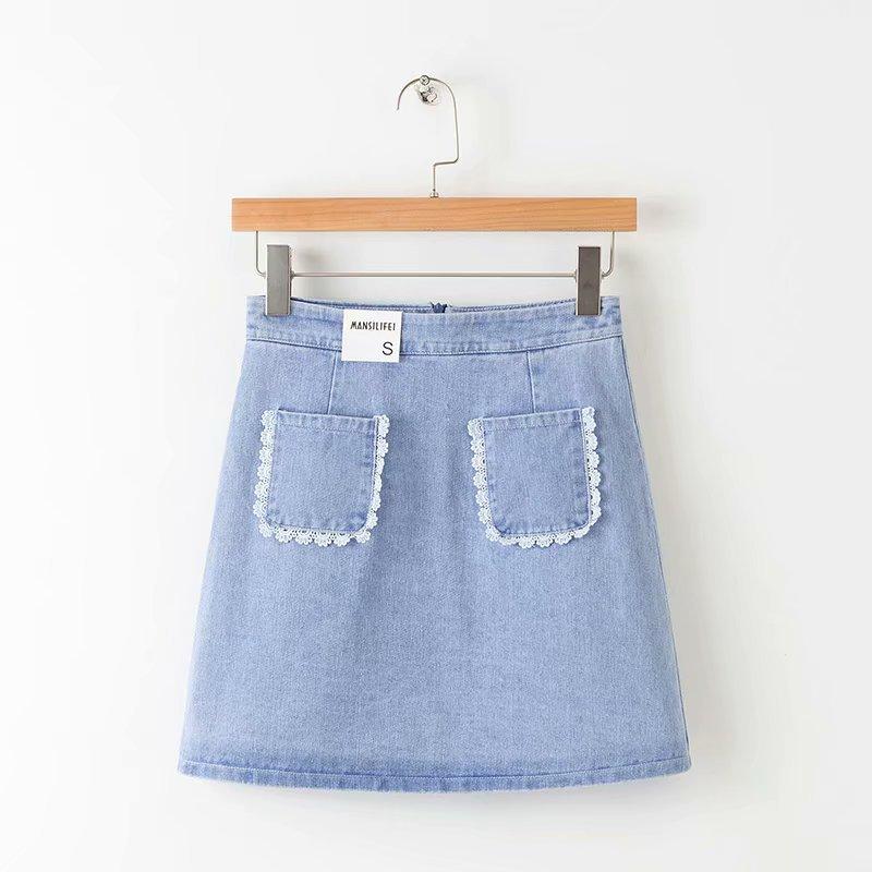 2019 Japanese-style Mori Girl Line Washing Retro Skirt Lace High-waisted Casual Girl's Denim Skirt