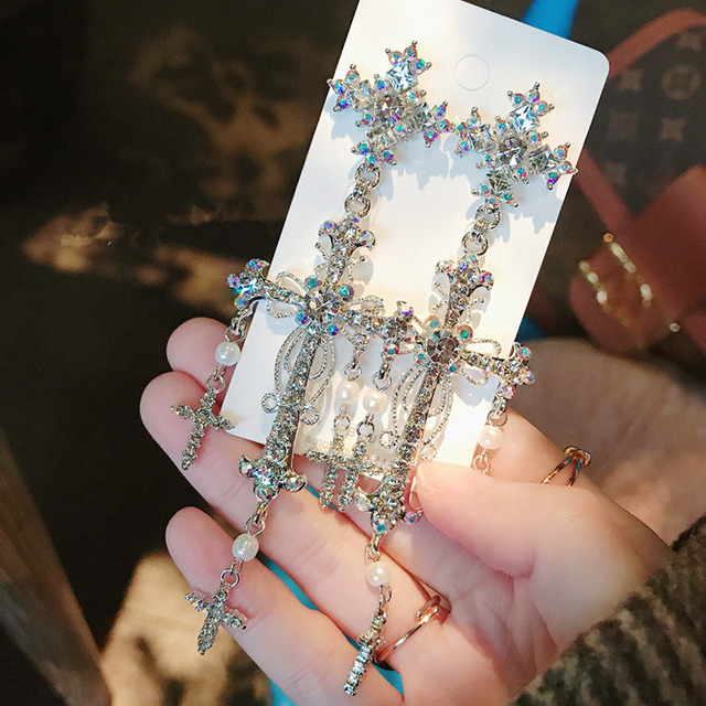 MWsonya New Palace Style Silver Color Luxury Crystal Cross Dangle Earrings for Women Elegant Tassel Party.jpg 640x640 - MWsonya New Palace Style Silver Color Luxury Crystal Cross Dangle Earrings for Women Elegant Tassel Party Jewelry Gifts