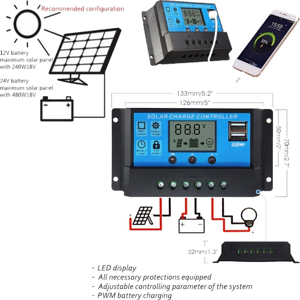 solar carregador controlador regulador de bateria