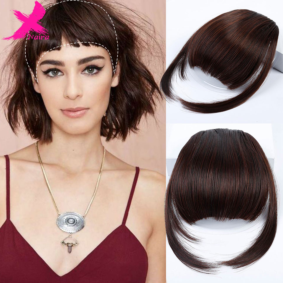 Xnair High Temperature Fiber Synthetic Hair Neat Front False Fringe Thin Blunt Clip In Bangs Piece For Women Clip On Bangs Blunt