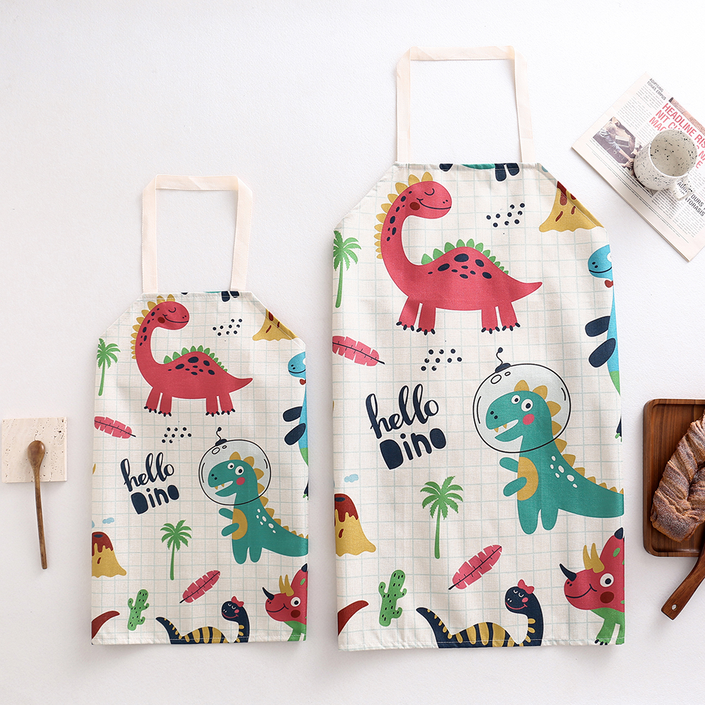 2PCS Cute Dinosaur Parent-Child Apron Cartoon Linen Sleeveless Aprons For Adult Children Painting Bibs Family Cleaning Tools