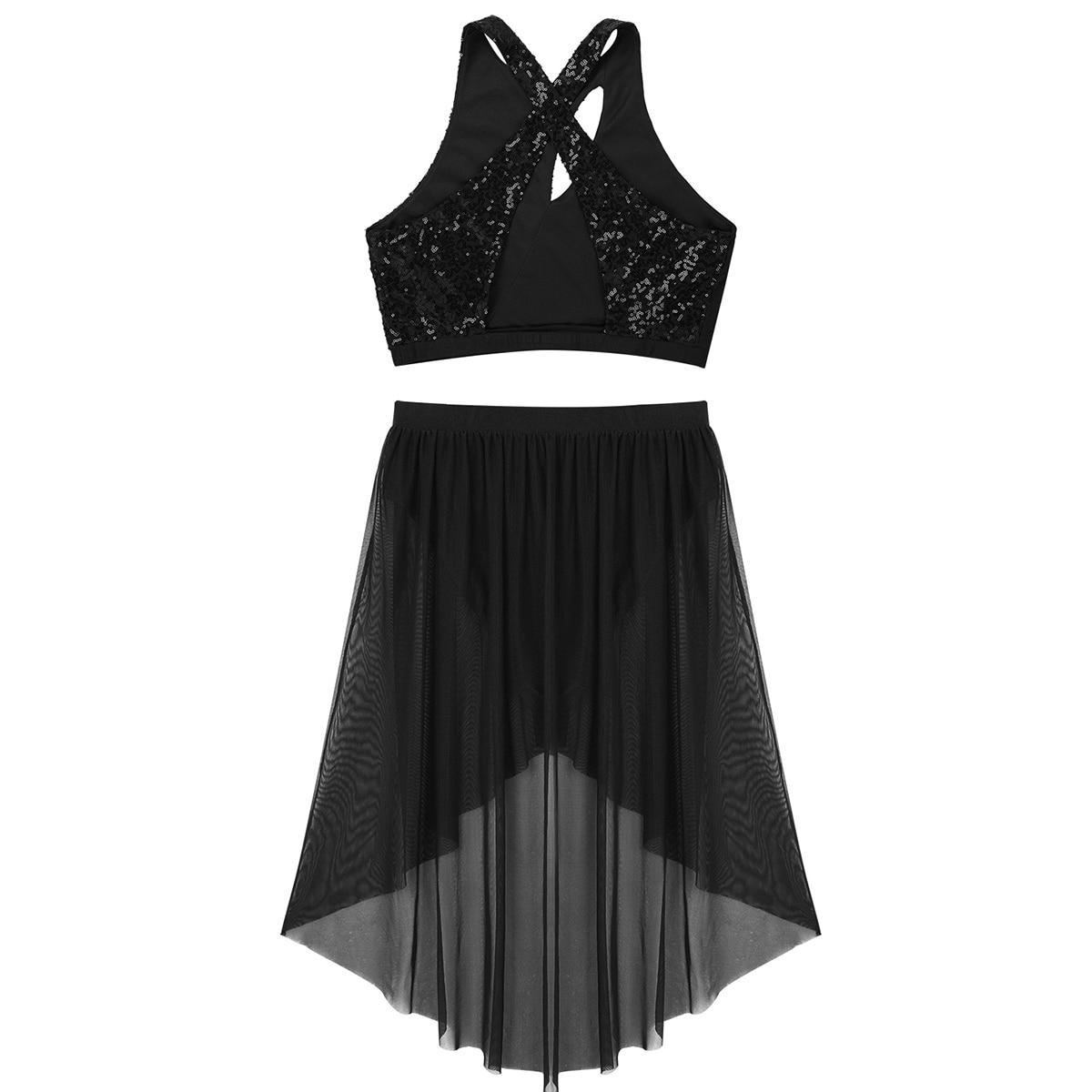 Image 4 - ChicTry Shiny Sequins Asymmetrical Gymnastics Ballet Crop Tops Leotard Mesh Skirt Set Women Contemporary Lyrical Dance CostumesBallet   -