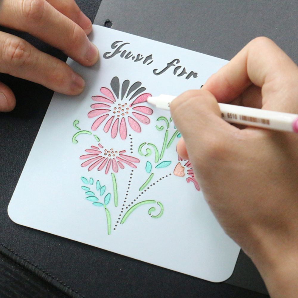 1 Pcs  Flower Letter Stencils For Painting Template Drawing DIY Photo Album Scrapbooking Diary Bullet Journal Templates Decor