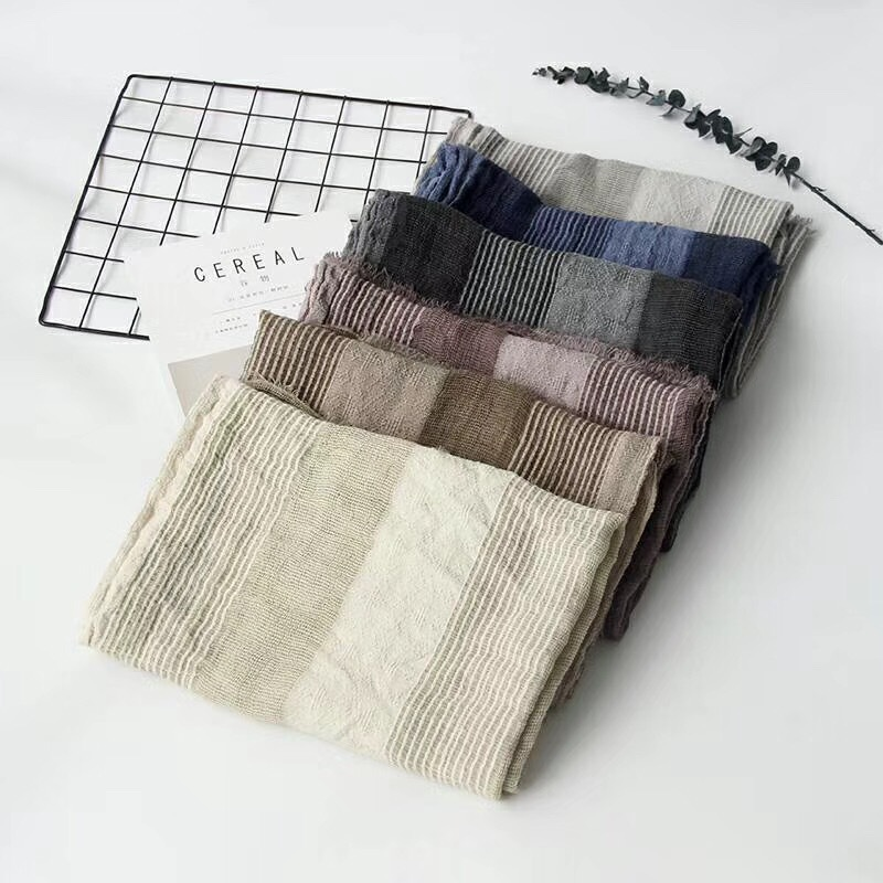 2018 Autumn And Winter Japanese Style Cotton Linen Stripes Pleated Scarf Women's Korean-style College Hollow Out Scarf Shawl Fas