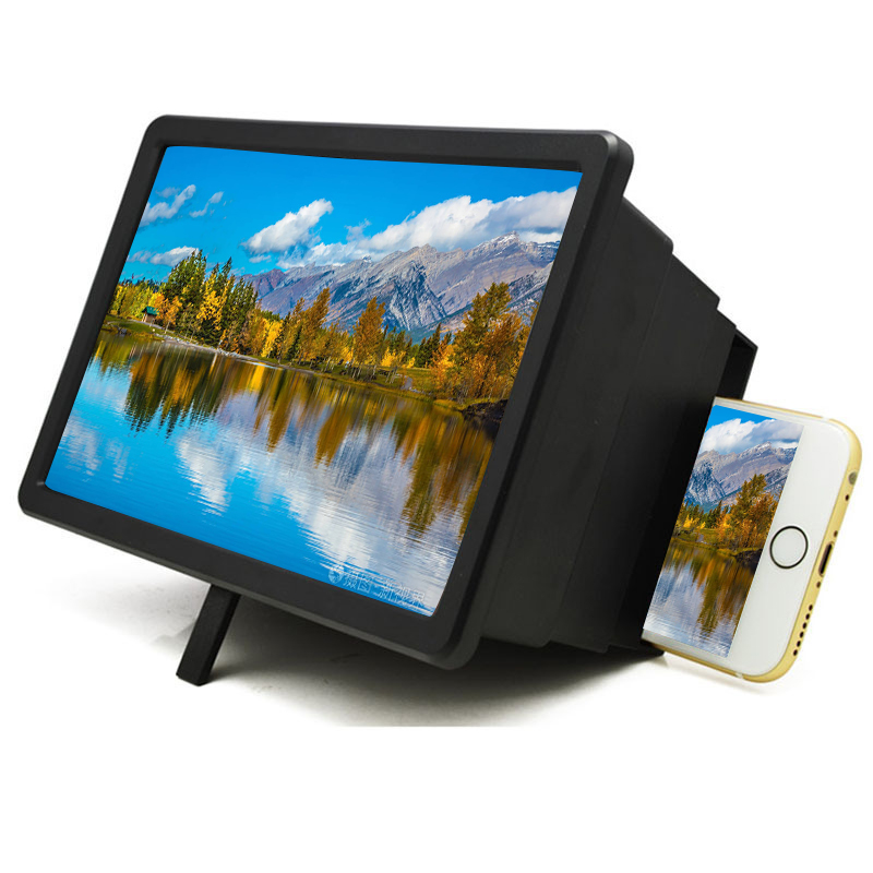 3D Phone Screen Magnifier Stereoscopic Amplifying Desktop Leather Mobile Phone Holder Tablet Holder