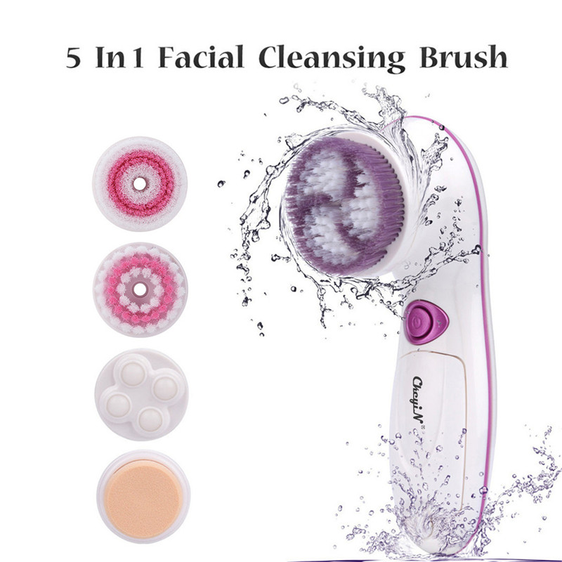 5 in 1 Facial Cleansing Brush Set Face Brush Pore Cleaner Deep Cleaning Gentle Exfoliating Blackhead Removal Skin Scrubber 48