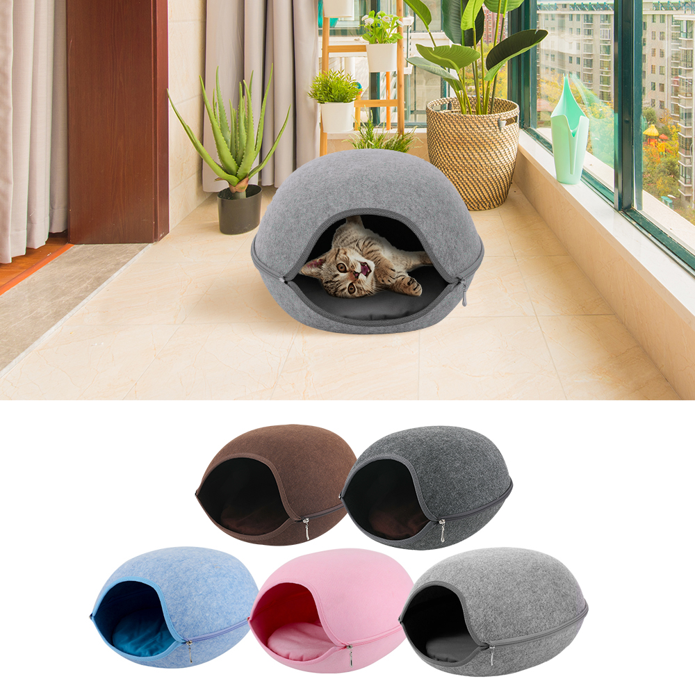 Natural felt Pet Cave for Cat Gray/blue/pink Pet House Cat Bed Home With Cushion Zipper design Pets Product All seasons